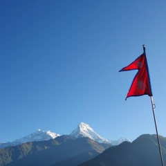 "Trek - Nepalese flag • <a style=""font-size:0.8em;"" href=""http://www.flickr.com/photos/127467392@N07/15382312874/"" target=""_blank"">View on Flickr</a>"