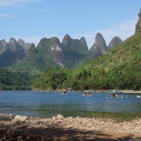 montagnes karstiques guilin xingping rivière Li bamboo boat